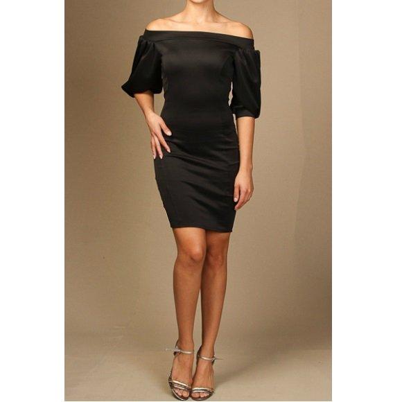 Off The Shoulder Puffy Sleeve Bodycon Mini Dress Black (M)