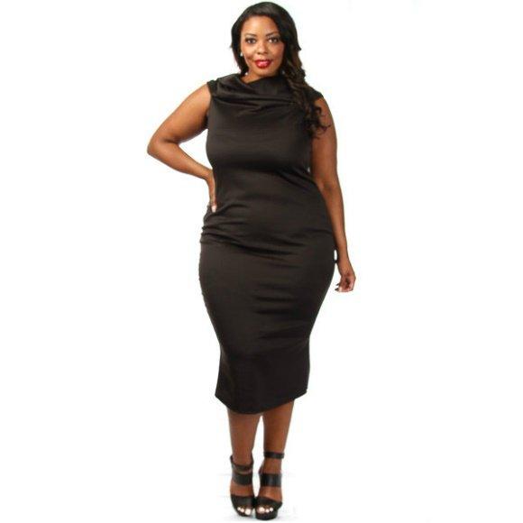 Plus Size Off The Shoulder Back Bow Midi Dress Black (2XL)