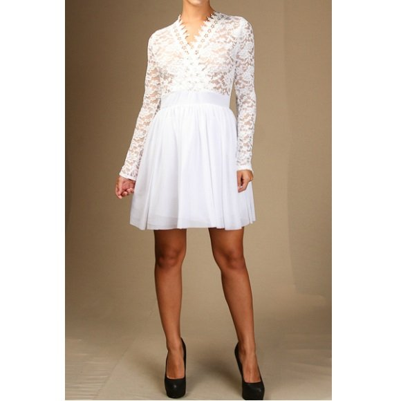 Long Sleeve V-Neck Floral Lace Tulle A-Line Mini Dress (L)