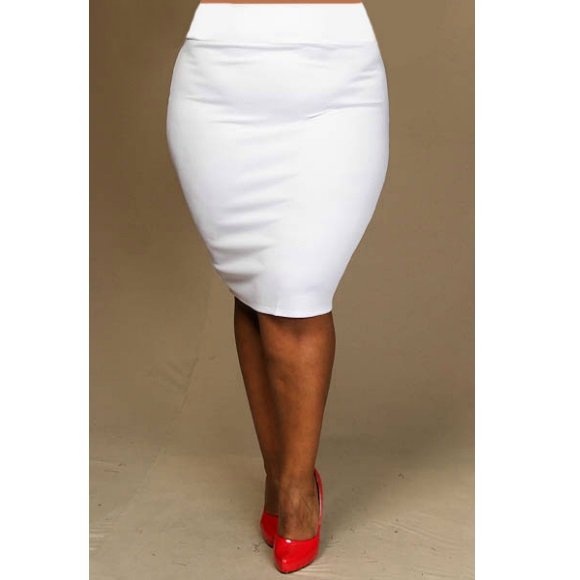 Plus Size Straight Pencil Skirt with Back Slit (2XL)