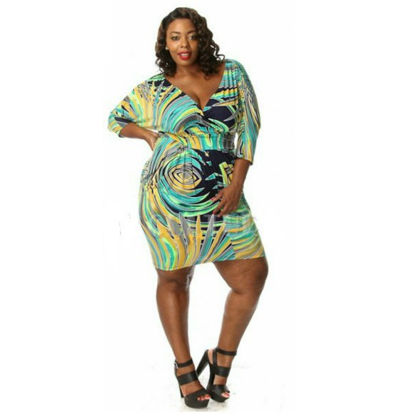 Plus Size 3/4 Sleeve Abstract Multi Print Bodycon Mini Dress (2XL)