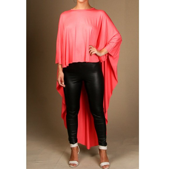 Long Sleeve High Low Fashion Top Coral (M)