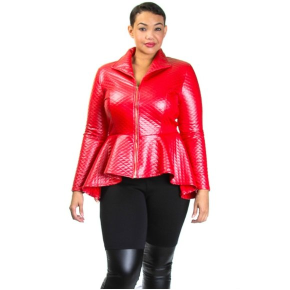 Plus Size Long Sleeve Quilted Zip Down Peplum Jacket Red (2XL)
