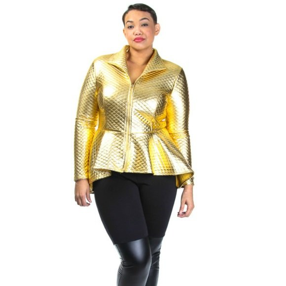 Plus Size Long Sleeve Quilted Zip Down Peplum Jacket Gold (1XL)