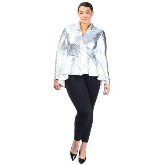 Plus Size Long Sleeve Quilted Zip Down Peplum Jacket Silver (1XL)