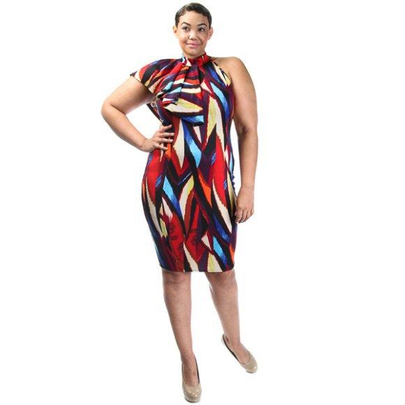 Plus Size Mock Neck Sleeveless Side Ruffle Abstract Dress Blue (1XL)