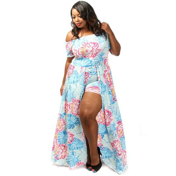 Plus Size Off The Shoulder Floral Print Romper with Overlay Maxi Dress (1XL)