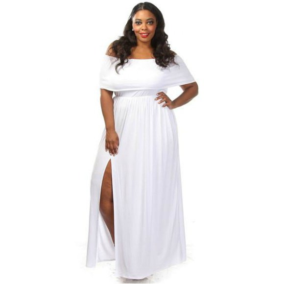 Plus Size Off The Shoulder Side Slit Maxi Dress White (3XL)