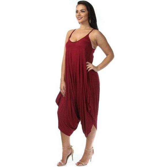 Plus Size Solid Color Sleeveless Harem Jumpsuit Burgundy (1XL)