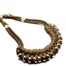 WOMEN'S BROWN NECKLACE ENTRELACES WITH BRONZE RINGS