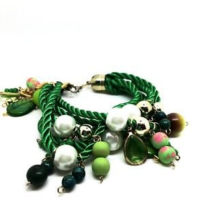 WOMEN'S BRACELET DECORATED WITH BEADS AND PENDAN: Brown, Purple, Green