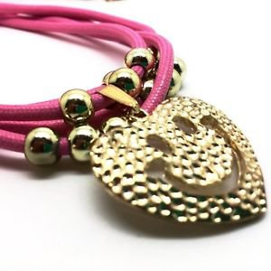 NECKLACE WITH SMILEY FACE PENDANT - PINK