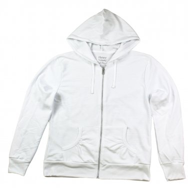 Womens Terry Zipper Hoodie White small
