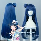 Love Live Yoshiko Tsushima Cos Wig Hair Blue Gray Anime Cosplay Wig Party Wigs