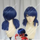 Marinette Ladybug Cosplay Wigs Blue Twin Tail Bunches Hair Wig