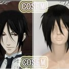 Anime Kuroshitsuji Black Butler Sebastian Michaelis Cosplay wig and a cap