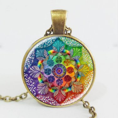 Handmade henna yaga necklace om symbol buddhism Mandala Necklace Pendant