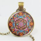 Silver plated necklace mandala necklaces chakra pendant OM jewelry for women