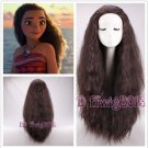 New Movie Moana 75cm long wavy curly dark brown cosplay wig +a wig cap