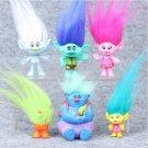 6pcs Trolls Action Figure Play Set Movie Cartoon Magic Long Hair Dolls Toys Kids Children Gift