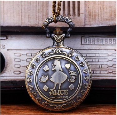 Vintage Quartz Cute Alice in Wonderland Rabbit Flower Pocket Watch Pendant Necklace