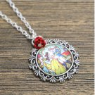 12pcs/lot Beauty and the Beast Stained Glass Necklace with red flower silver tone