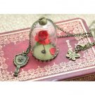 12pcs/lot Beauty and The Beast Enchanted Rose Inspired Necklace Rose Glass