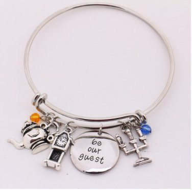 """Beauty and the Beast Bangle""""be our guest""""Pendant with Pendulum"""