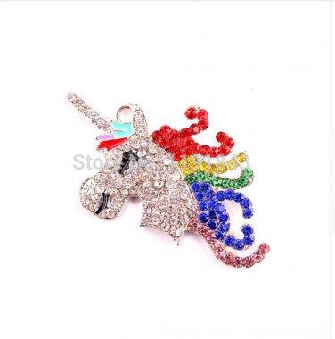 10pcs/lot 40*48mm silver Zinc alloy rhinestone unicorn rainbow necklace Pendant