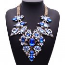 Necklaces & Pendants Ultra-luxury Blue Gem Statement Necklace Multi-color Crystal Flower Jewelry