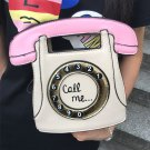 fashion phone shape letters ladies pu leather handbag chain shoulder bag flap crossbody Cream
