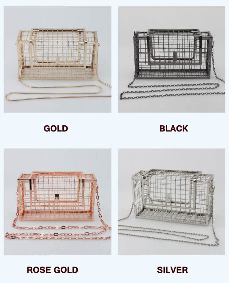 Unique fashion design personality hollow metal cages party clutch evening bag shoulder bag  Black
