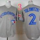 Top Quality ! Toronto Blue Jays Jersey Troy Tulowitzki #2 Jerseys gray