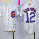 Chicago Cubs Jersey Kids 12 Kyle Schwarber Jersey color white