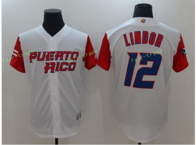 2017 World Baseball Classic Jerseys 12 Francisco Lindor Jersey Stitched Puerto Rico Baseball Jersey