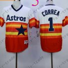 Hot Top Quality Jerseys Houston Astrosl #1 Carlos Correa  Rainbow Orange Jersey