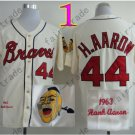 2014 NEW Hank Aaron Jersey White Cream Cool Base Atlanta Braves Jerseys style 1