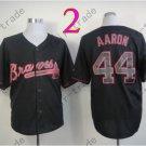 2014 NEW Hank Aaron Jersey Black Cool Base Atlanta Braves Jerseys