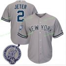 With Retirement Patch #2 Derek Jeter 2017 New York Yankees Men All Stitched Baseball Jersey Grey 1