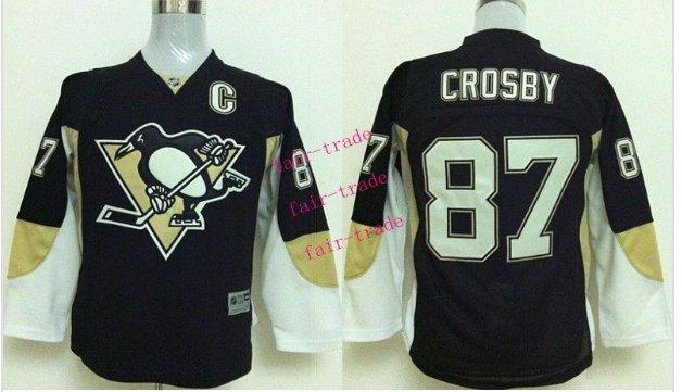 #87 Sidney Crosby Youth Ice Hockey Jerseys Kids Boys Stitched Jersey Black