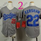 Dodgers Youth Jersey 22 Clayton Kershaw Gray Kid Size S M L XL