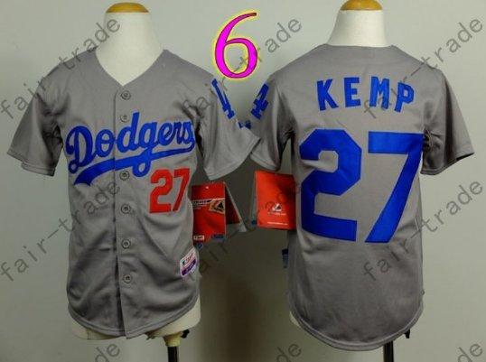Dodgers Youth Jersey 27 Matt Kemp Gray Kid Size S M L XL