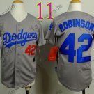 Dodgers Youth Jersey 42 Jackie Robinson Gray Kid Size S M L XL