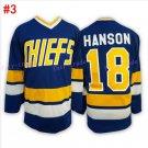 #18 Jack HANSON - Hanson brothers Charlestown CHIEFS Blue 2016 Hockey Jerseys Ice Winter Jersey