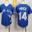 Top quanlity !Toronto Blue Jays Youth Jersey  #14 PRICE Blue All Stitched