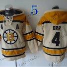 Boston Bruins #4 Bobby Orr White Hockey Hooded Stitched Old Time Hoodies Sweatshirt Jerseys