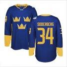 2016 World Cup Ice Hockey Sweden Jerseys  #34 Carl Soderberg