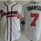 2017 Park Commemorative Patch Atlanta Braves Mens #7 Dansby Swanson Cool Base Jersey White