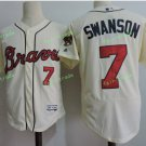 2017 Park Commemorative Patch Atlanta Braves Mens #7 Dansby Swanson Cool Base Jersey Light Yellow