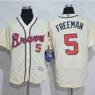 2017 Commemorative Patch Atlanta Braves Mens #5 Freddie Freeman Light Yellow